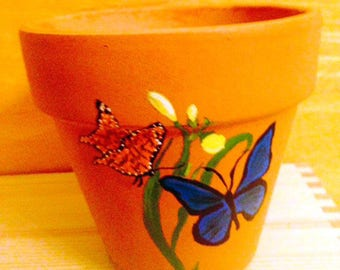 Butterflies Pollinating a Flower Hand Painted on 4.5 Inch Terra Cotta Red Clay Flower Pot