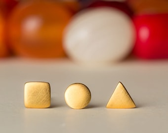 Extra Tiny Geometric Stud Gold Circle Earring Gold Triangle Earring  Square Earring sterling silver geometric Studs Everyday Earrings