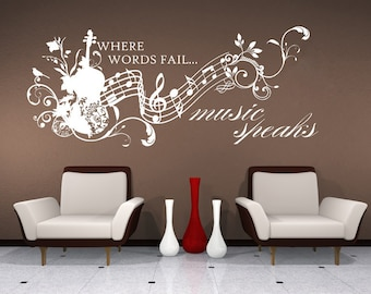 Wall Decals Music Speaks Collage - Vinyl Lettering Text Wall Words Stickers Art Custom Home Decor