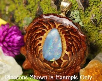 Australian Blue Opal Third Eye Pinecone Pendant