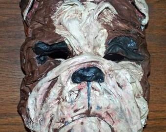 Folk Art English Bulldog Mask Vintage Nostalgic Style Halloween  Theater Handmade