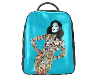 warrior woman vegan leather backpack