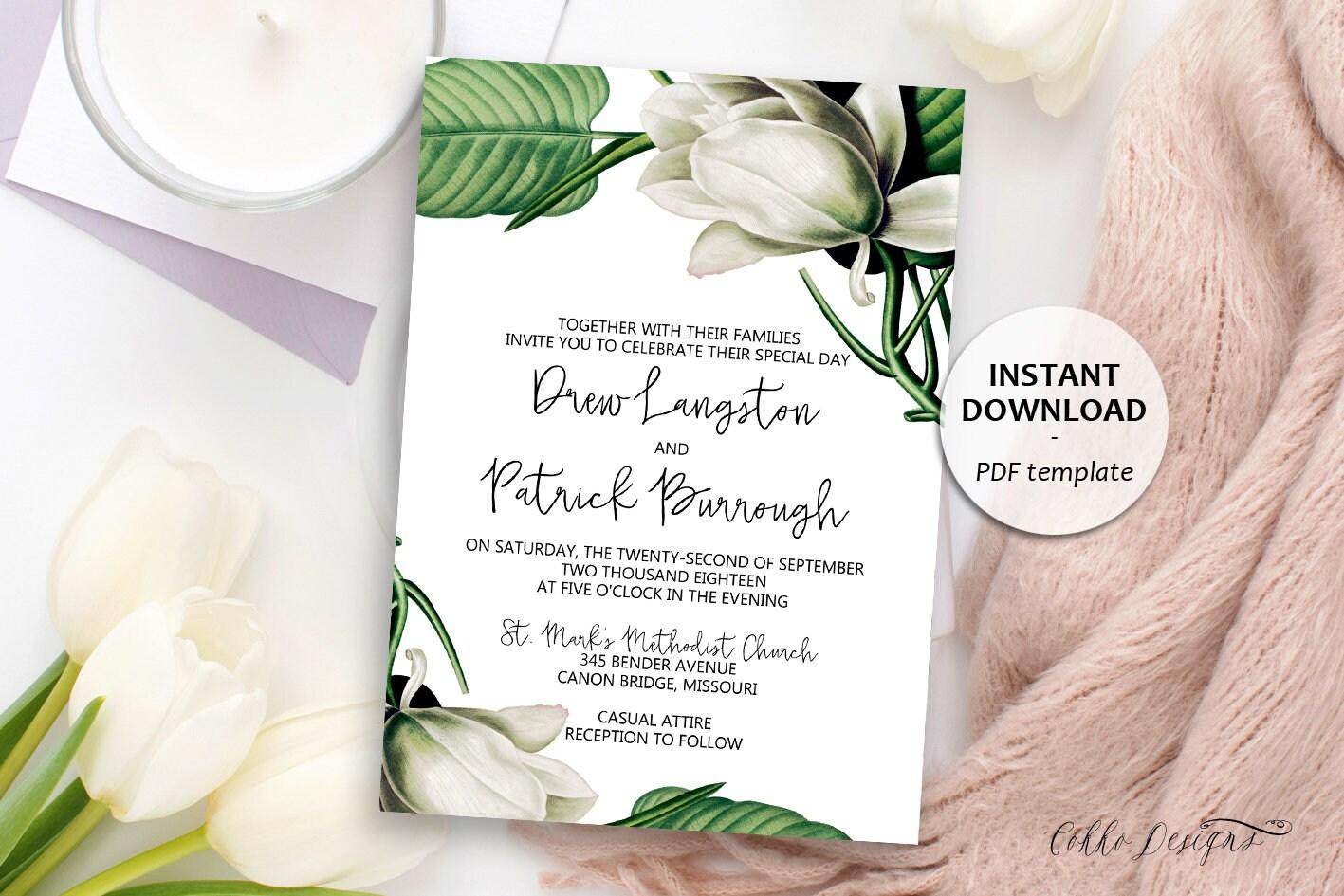 Magnolia Floral Wedding Invitation Rustic Wedding Template