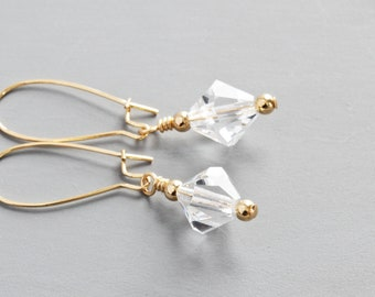 Clear Crystal Earrings, Simple Dangle Earrings, Faceted Clear Earrings, Everyday Jewelry (Choose Gold Plated or Silver Plated)