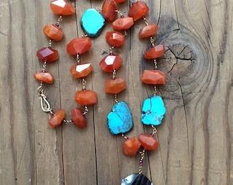 Kingman Turquoise Necklace | Carnelian | Garnet | Agate | 24K Gold Vermeil | Tribal | Gemstone | Bohemian
