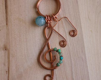 Treble clef musical note copper keychain wire
