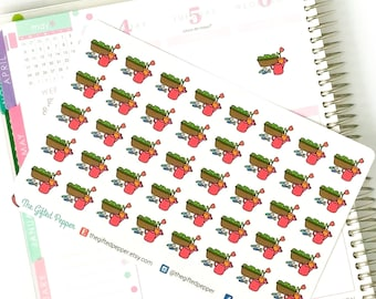 PRINTED Gardening stickers. Watering plant reminder stickers. For Erin Condren Planner. Stickers, calendar stickers (Item #059)