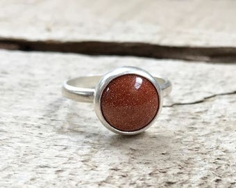 Elegant Round Brown Goldstone Sterling Silver Statement Ring | Boho | Sparkly Gemstone Ring | Gifts for Her | Solitaire Silver Ring