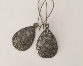 Bohemian Brass Earrings Dangle Filigree Tear Drop Earrings Boho