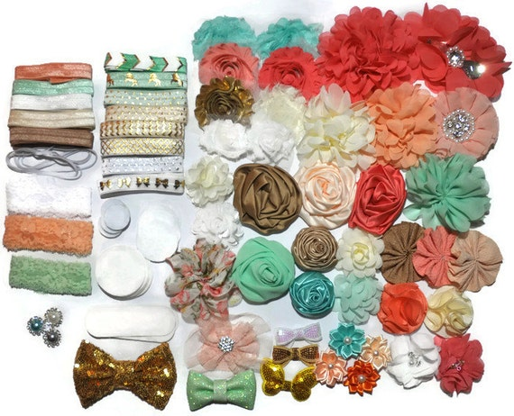 DIY Headband Kit, Baby Shower Station, Makes 20+ Headbands, Gold Coral U0026  Aqua, Make Your Own Headbands, Baby Head Bands, Baby Shower Game From ...