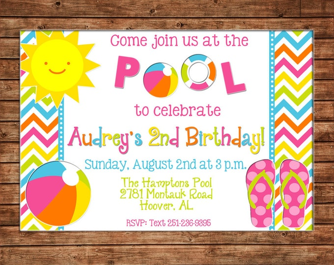 Girl Invitation Summer Pool School's Out Flip Flop Beach Birthday Party - Can personalize colors /wording - Printable File or Printed Cards