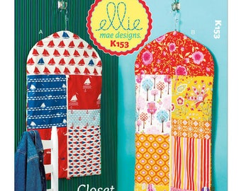Sewing Pattern for Patchwork Garment Bag Organizers, Kwik Sew Pattern 0153, Garment Bags, Closet Organizers, Clothing Bags, Dress Suit Bags
