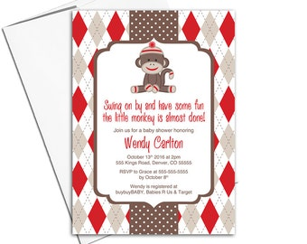 Red and Brown Sock monkey baby shower invitations | Gender neutral baby shower invites | arglye polka dots | printable or printed - WLP00759