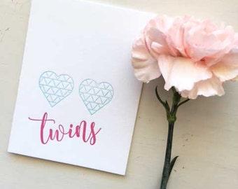 Twins Card, New Baby Twins Card, Twins Newborn Card, Twins, Twin Baby Gift, Twins Gift, Boy Girl Twins, Baby Twins, Newborn Baby Gift
