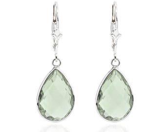 14K White Gold Handmade Gemstone Earrings With Dangling Pear Shape Green Quartz