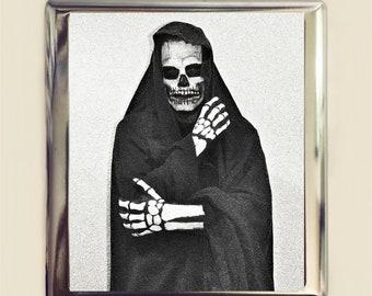 Grim Reaper Cigarette Case Business Card ID Holder Wallet Death Goth Gothic Dark Art Creepy