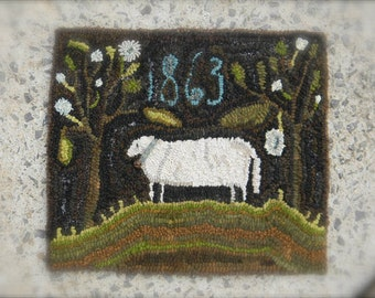 1863 Sheep Rug Hooking pattern - PDF - from Notforgotten Farm™