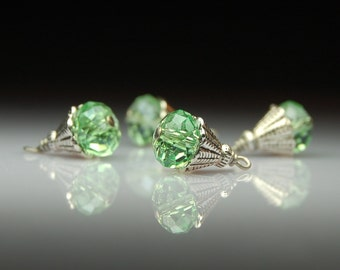 Handmade Wire Wrapped Bead Dangles Charms Drops Green Glass Set of Four G495