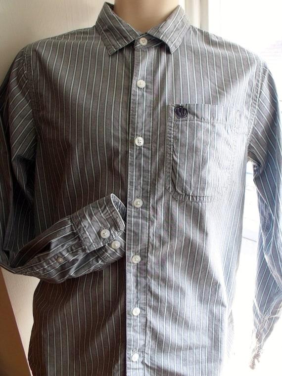 Men's Medium 60s Shirt - 1960s Men's Haze Plaid Mens Long Sleeved Casual Shirt - Khaki Tan & Blue Wool - Pendleton - Chest 42 - 38218 b7n1Y4SS2