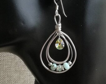Elegance of a Drop Argentium Silver and Swarovski crystals Drop Earrings