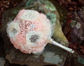 5 piece Wedding Bouquet Set   Bridal Bouquet Set   Fabric Wedding Bouquet   Brooch Bouquet   Rustic Bouquet Set   Bridesmaid Bouquet Set