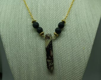 Brown Stone Diffuser Necklace