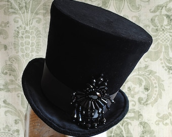 Glamorous Burlesque Lady'sTop Hat,Black Velvet WOMEN's Top Hat with Crystals,Victorian Ladies Hat,Sparkling Showpiece-Custom-Made to Order