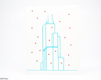 Sears Tower Chicago Christmas Card, set of 5 cards, Season's greetings from Chillycago!