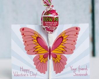 Custom Printable Butterfly Lollipop Valentine