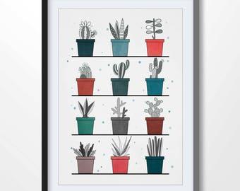 CACTUS POSTER, cactus print, cactus illustration, cactus printable, succulent wall art, minimalist print, botanical art, kitchen art