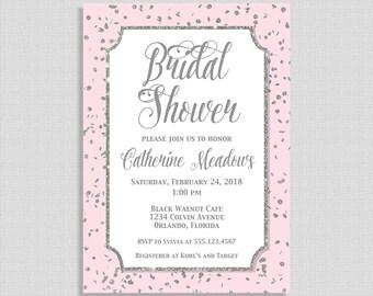 Bridal Shower Invitation, Pink and Silver Glitter Confetti Invite, Wedding Shower Invite, DIY PRINTABLE