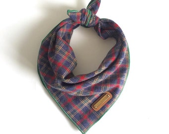 NAVI. Plaid Dog Bandana in Charcoal and Red.  All sizes: small, medium, large, xl