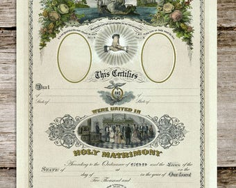 Colorized Antique Wedding Certificate Reproduction Print from Curious London