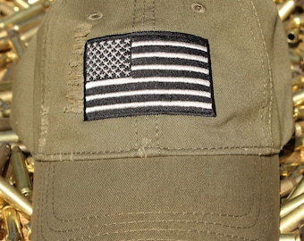 Distressed OD Green American Flag Hat