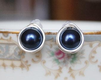 Dark Navy Blue Studs , Bridesmaid Earrings , Navy Earrings , Silver Navy Studs