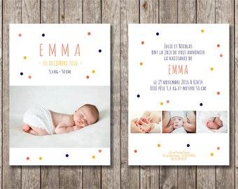 Personalized girl confetti birth announcement