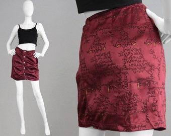 Vintage CHRISTIAN LACROIX 90s Mini Skirt Wine Satin Skirt Ruched Skirt Micro Skirt Designer Skirt Made in Italy Logo Print Hipster Medium M