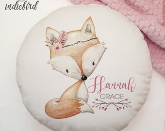 Personalised Fox cushion, woodland nursery animal, fox boho, clever little fox cushion, nursery cushion, girls room decor.