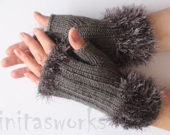 Fingerless Gloves Gray Arm Warmers Mittens 8 inch Knit, Wool Acrylic