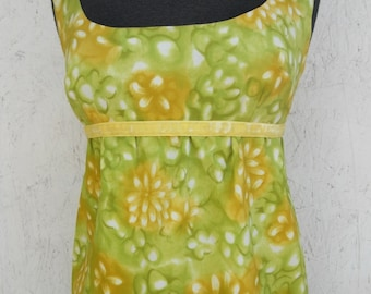 SALE 60s Summer Dress . EMPIRE Waist Maxi Lemon Lime Low Back . XS
