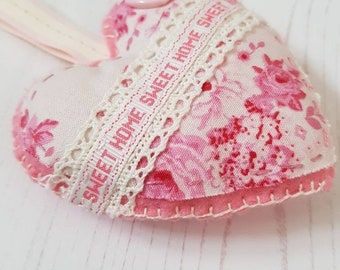 Home Sweet Home Hanging Heart Ornament - Sweet Pink Tilda Fabric