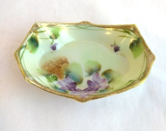 "Antique Vintage Nippon Porcelain Dish Purple Floral Pastel Green Gold Rim Hand Painted 5"" Inch Soap  Dish"