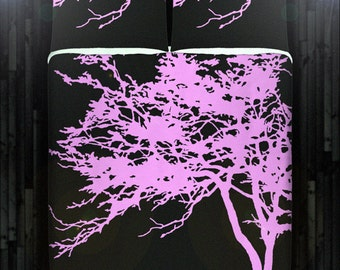 Pink Tree Black Bedding Duvet Cover Queen Comforter King Twin XL Size Blanket Sheet Set Baby Crib Toddler Daybed Kids Bed