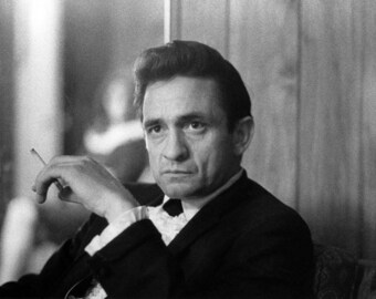 Johnny Cash portrait man in black, Ring of Fire, smoking, Black and white, old, vintage antique, photography, picture, print, fine art