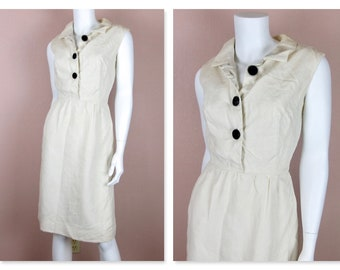 Vintage 1950 1960s Dress / White Linen, Lined / Summer Wedding / Wiggle Dress / Sleeveless / Sz S Small