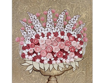 Textured Painting on Canvas Wall Art, Sculpted Floral Rose Still Life in Pink and Brown - 20x24
