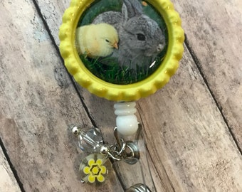 Baby Bunny and chick Easter Spring retractable badge reel yellow