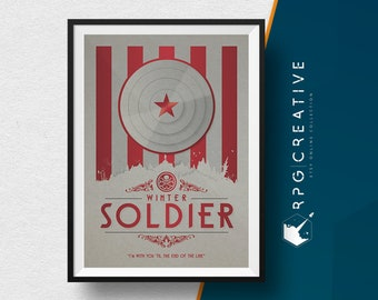 Winter Soldier :  Marvel Poster - Digital Print, Collectible Art, Movie Poster, Geek Decor, Living Room Wall Art, Marvel Gift