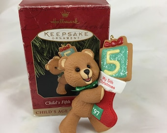 "Vintage Hallmark Keepsake Christmas Ornament ""Child's Fifth Christmas"" / dated 1997 / Child's Age Collection / bear with stocking"