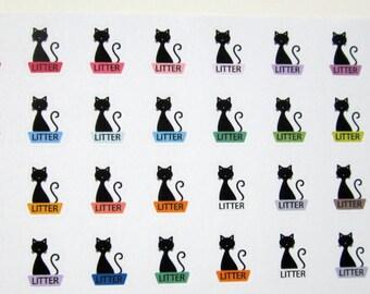Cat Litter Box, Kitty Litter Pan, Planner Stickers, Matte Removable